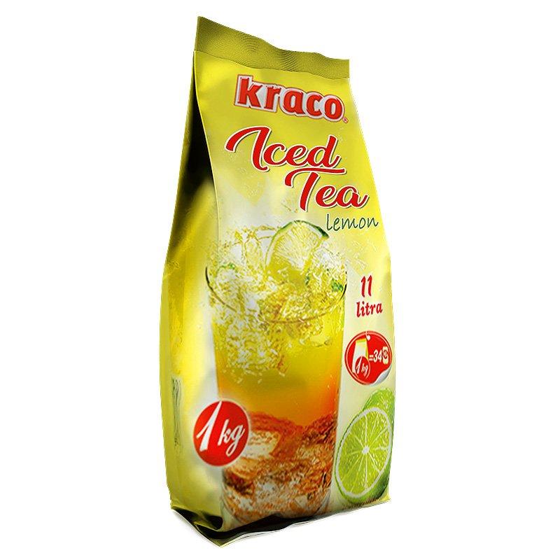 Instant preparation for iced lemon flavoured tea